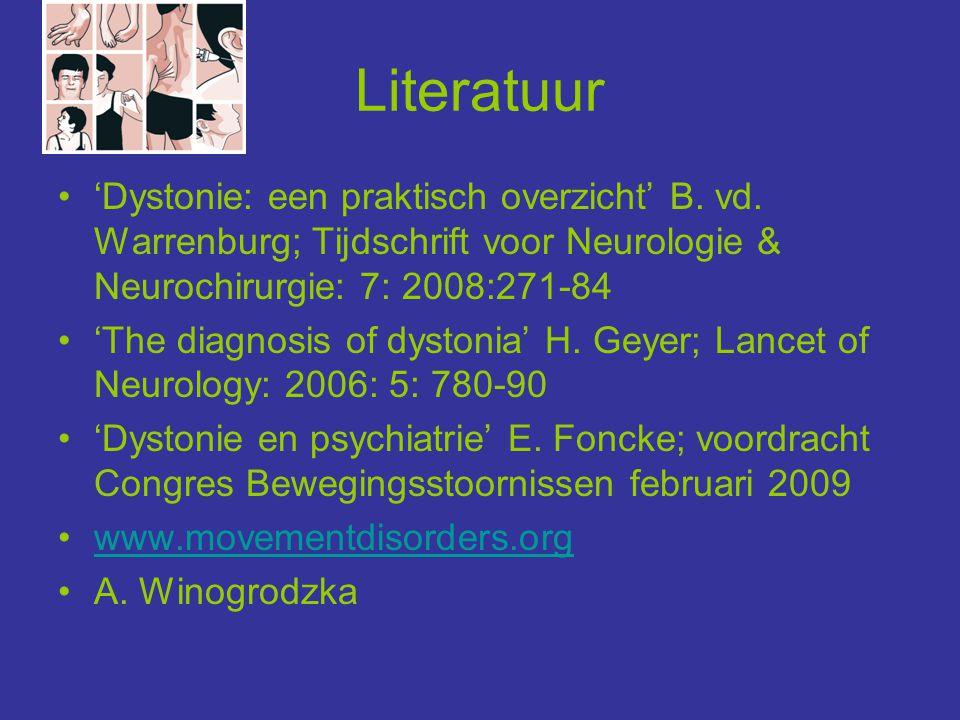 Literatuur 'Dystonie: een praktisch overzicht' B. vd. Warrenburg; Tijdschrift voor Neurologie & Neurochirurgie: 7: 2008:271-84.