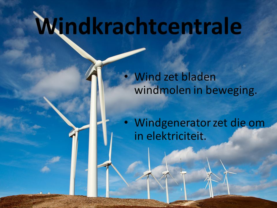 Windkrachtcentrale Wind zet bladen windmolen in beweging.