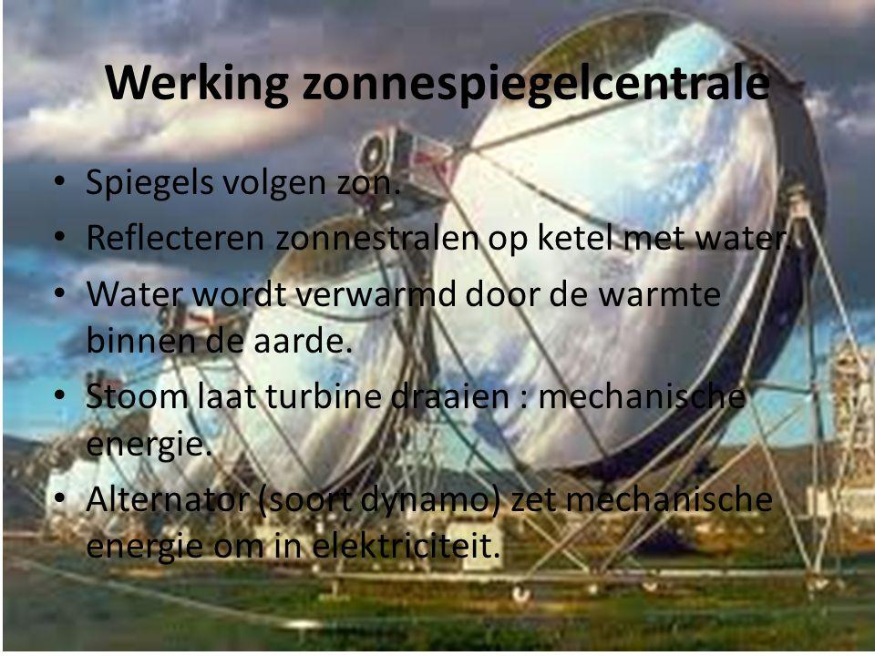 Werking zonnespiegelcentrale