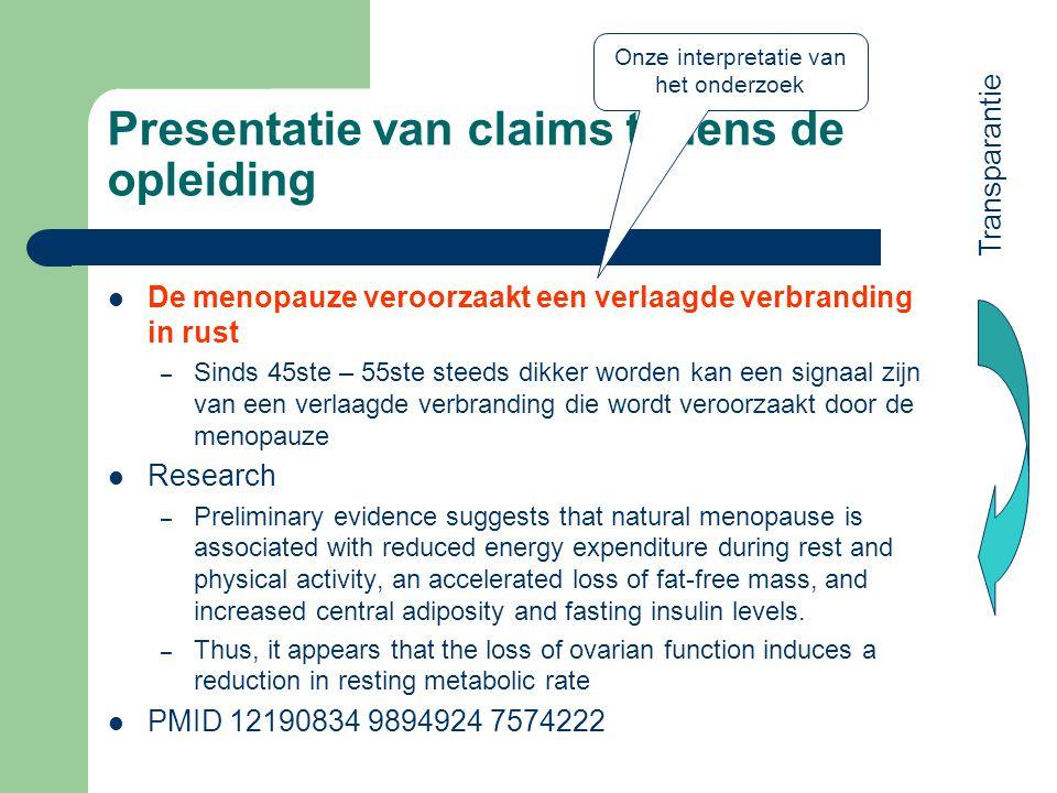 Presentatie van claims tijdens de opleiding
