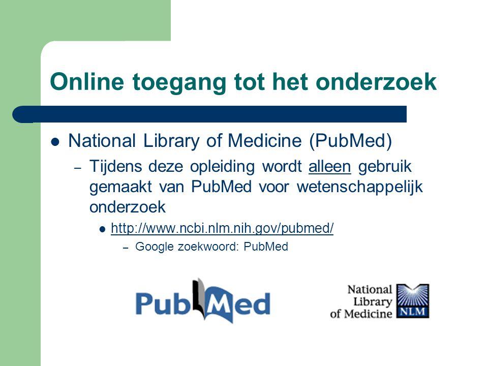 Online toegang tot het onderzoek