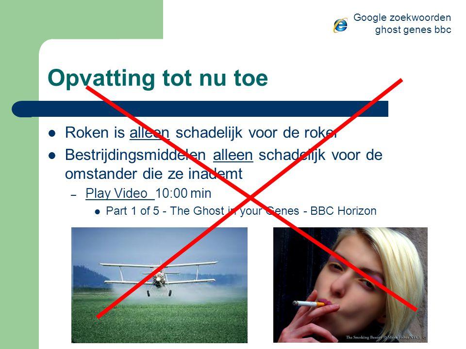 Opvatting tot nu toe Roken is alleen schadelijk voor de roker