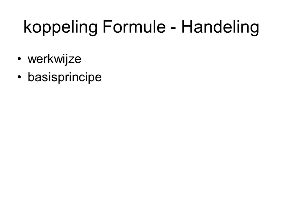 koppeling Formule - Handeling