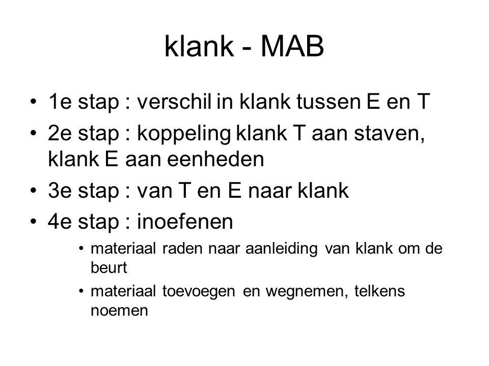 klank - MAB 1e stap : verschil in klank tussen E en T