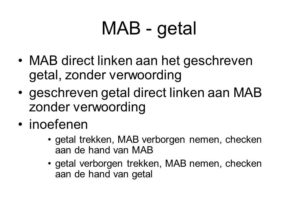 MAB - getal MAB direct linken aan het geschreven getal, zonder verwoording. geschreven getal direct linken aan MAB zonder verwoording.