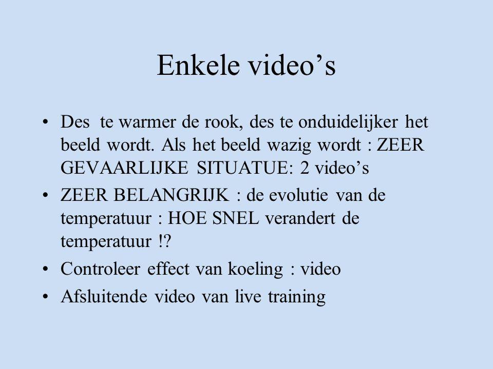 Enkele video's Des te warmer de rook, des te onduidelijker het beeld wordt. Als het beeld wazig wordt : ZEER GEVAARLIJKE SITUATUE: 2 video's.