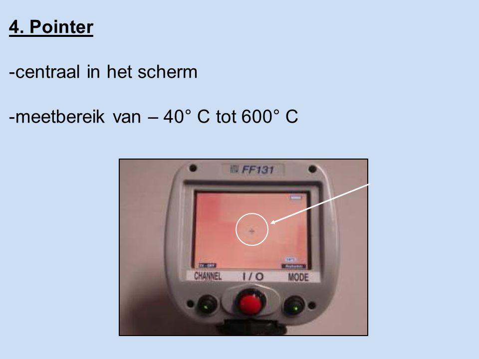 4. Pointer centraal in het scherm meetbereik van – 40° C tot 600° C