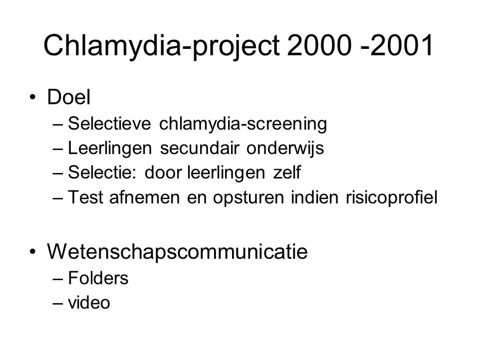 Chlamydia-project 2000 -2001 Doel Wetenschapscommunicatie