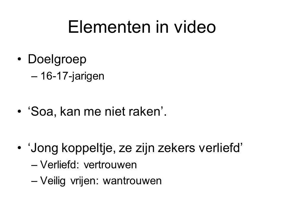 Elementen in video Doelgroep 'Soa, kan me niet raken'.