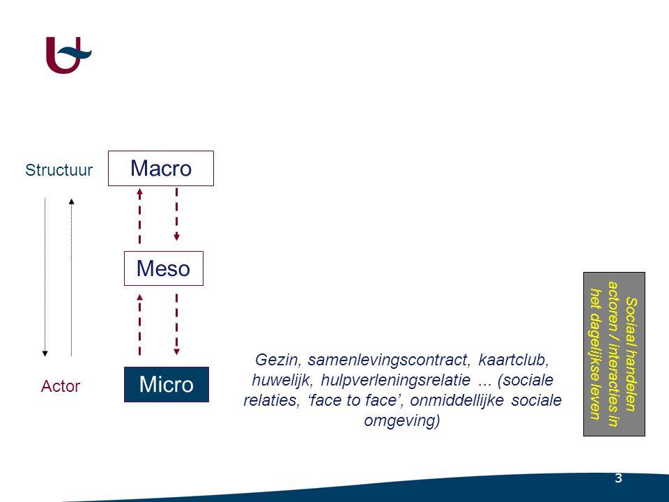 Macro Micro Actor Structuur Interactie Sociale relaties