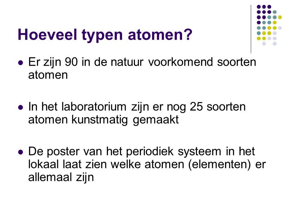 Hoeveel typen atomen Er zijn 90 in de natuur voorkomend soorten atomen. In het laboratorium zijn er nog 25 soorten atomen kunstmatig gemaakt.