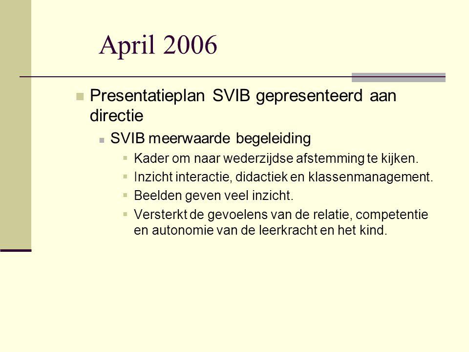 April 2006 Presentatieplan SVIB gepresenteerd aan directie
