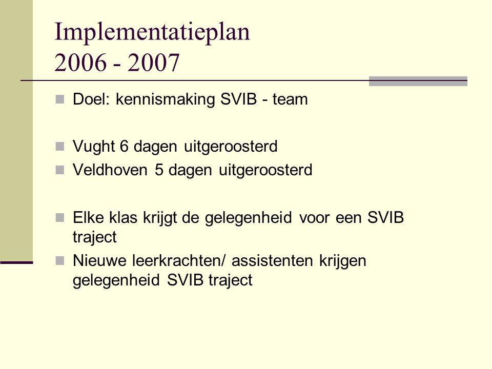 Implementatieplan 2006 - 2007 Doel: kennismaking SVIB - team