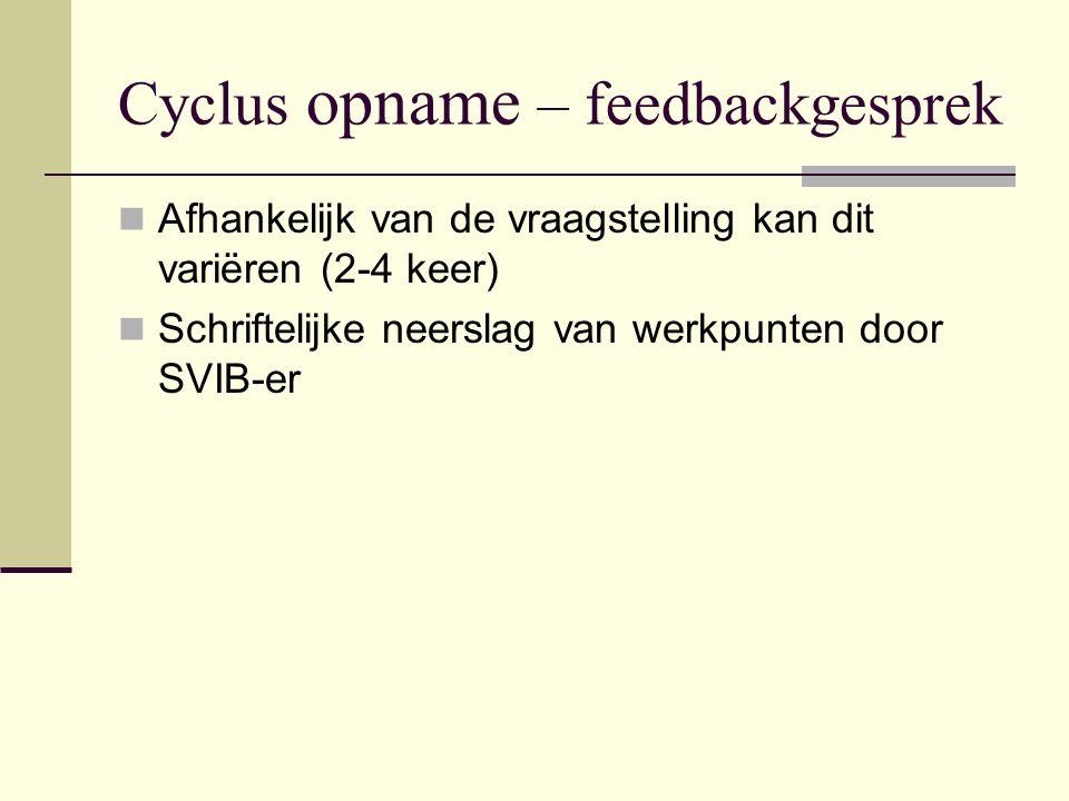 Cyclus opname – feedbackgesprek