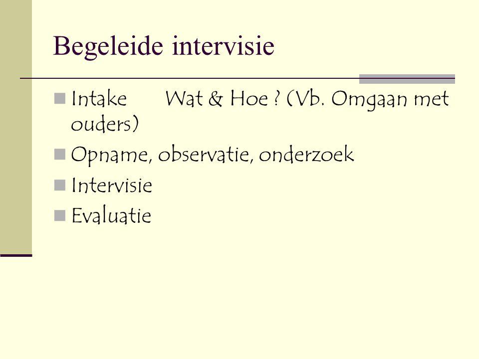 Begeleide intervisie Intake Wat & Hoe (Vb. Omgaan met ouders)