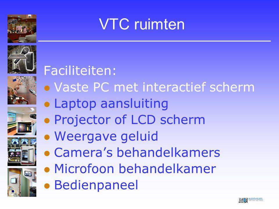 VTC ruimten Faciliteiten: Vaste PC met interactief scherm