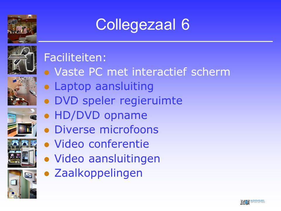 Collegezaal 6 Faciliteiten: Vaste PC met interactief scherm