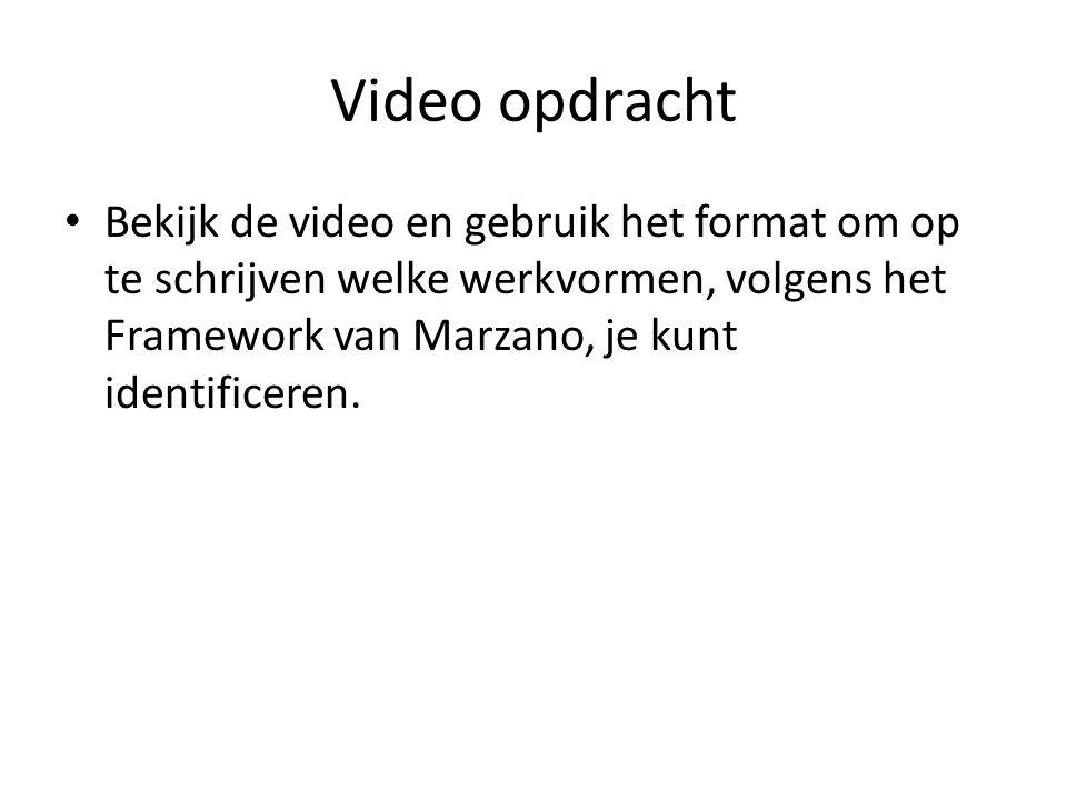 Video opdracht Bekijk de video en gebruik het format om op te schrijven welke werkvormen, volgens het Framework van Marzano, je kunt identificeren.