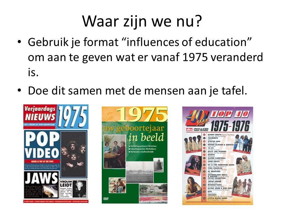 Waar zijn we nu Gebruik je format influences of education om aan te geven wat er vanaf 1975 veranderd is.