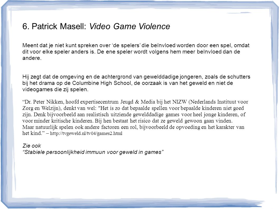 6. Patrick Masell: Video Game Violence