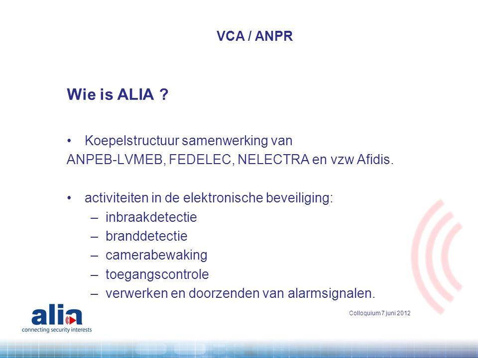 Wie is ALIA VCA / ANPR Koepelstructuur samenwerking van