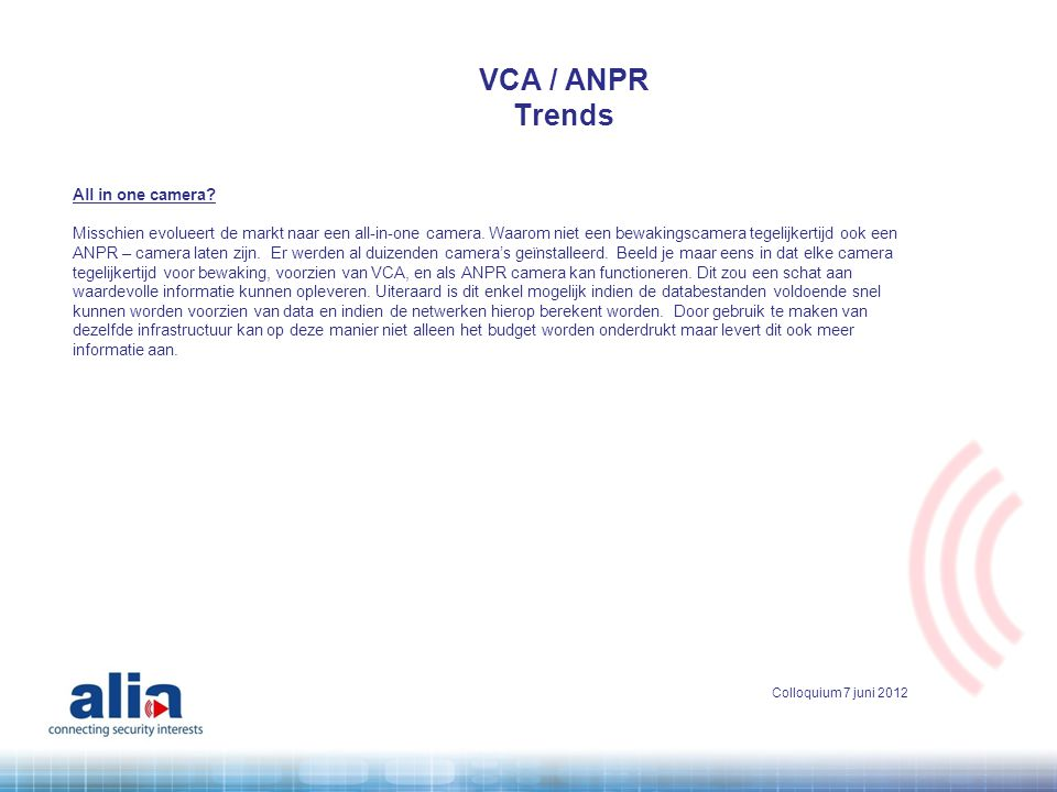 VCA / ANPR Trends All in one camera