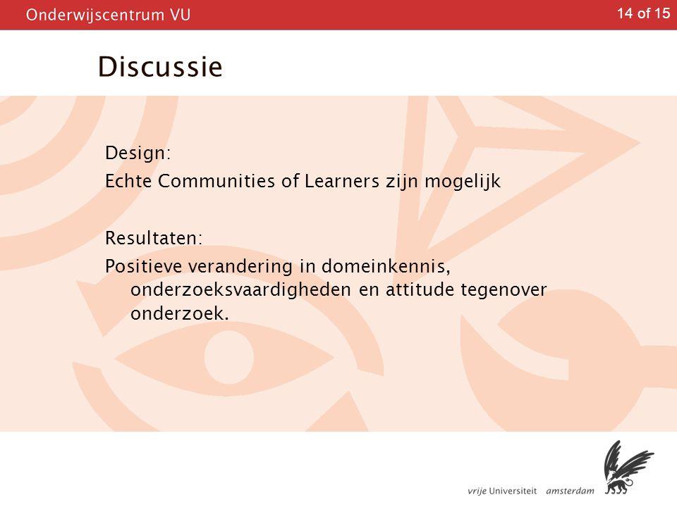 Discussie Design: Echte Communities of Learners zijn mogelijk