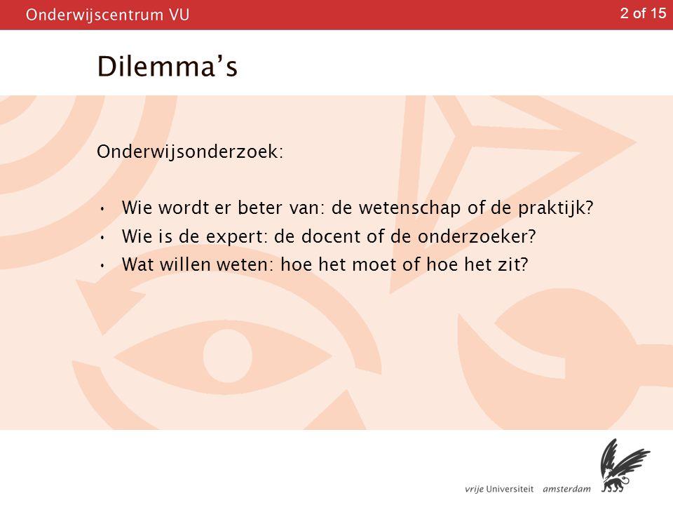Dilemma's Onderwijsonderzoek: