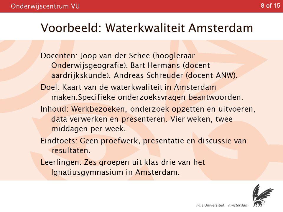 Voorbeeld: Waterkwaliteit Amsterdam
