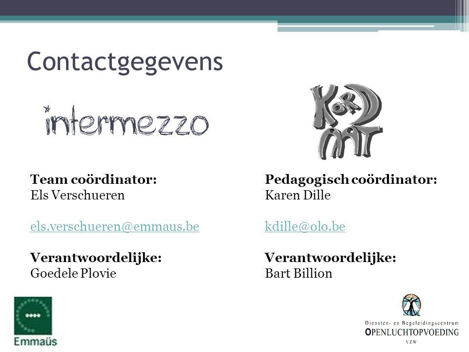 Contactgegevens Team coördinator: Els Verschueren