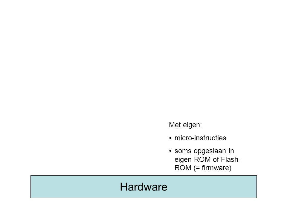 Hardware Met eigen: micro-instructies