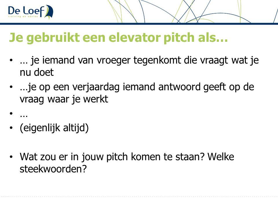 Je gebruikt een elevator pitch als…
