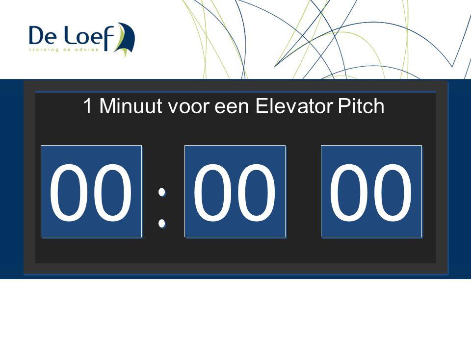 1 Minuut voor een Elevator Pitch