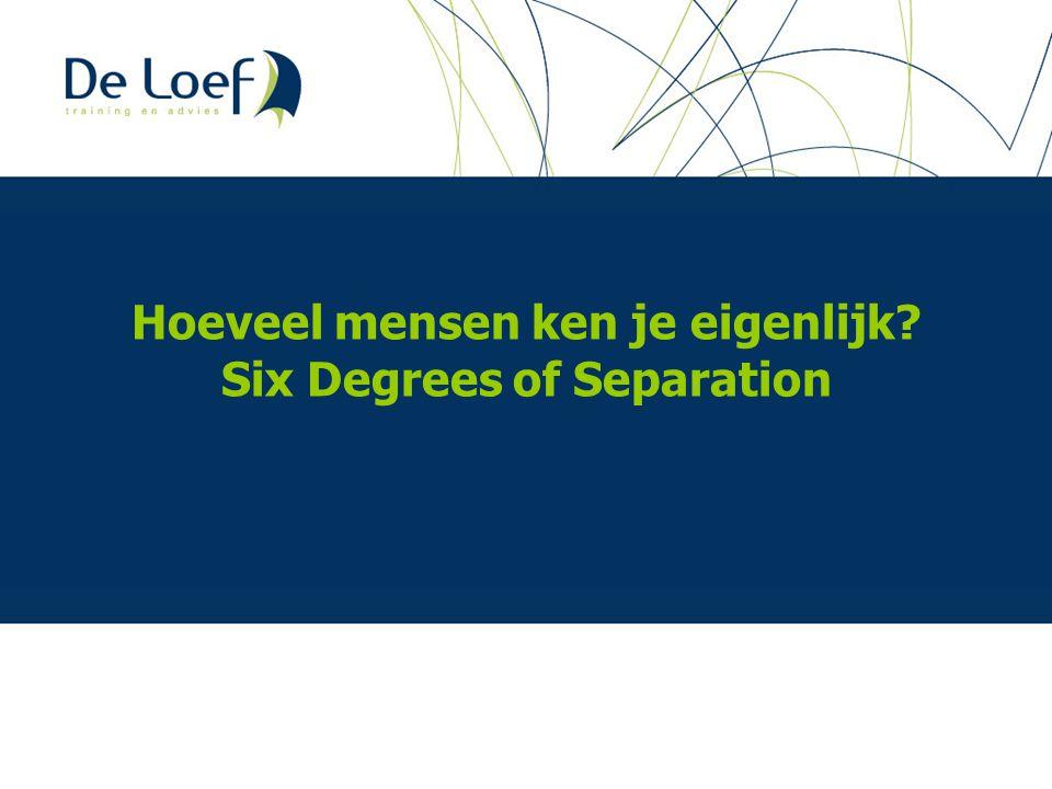 Hoeveel mensen ken je eigenlijk Six Degrees of Separation