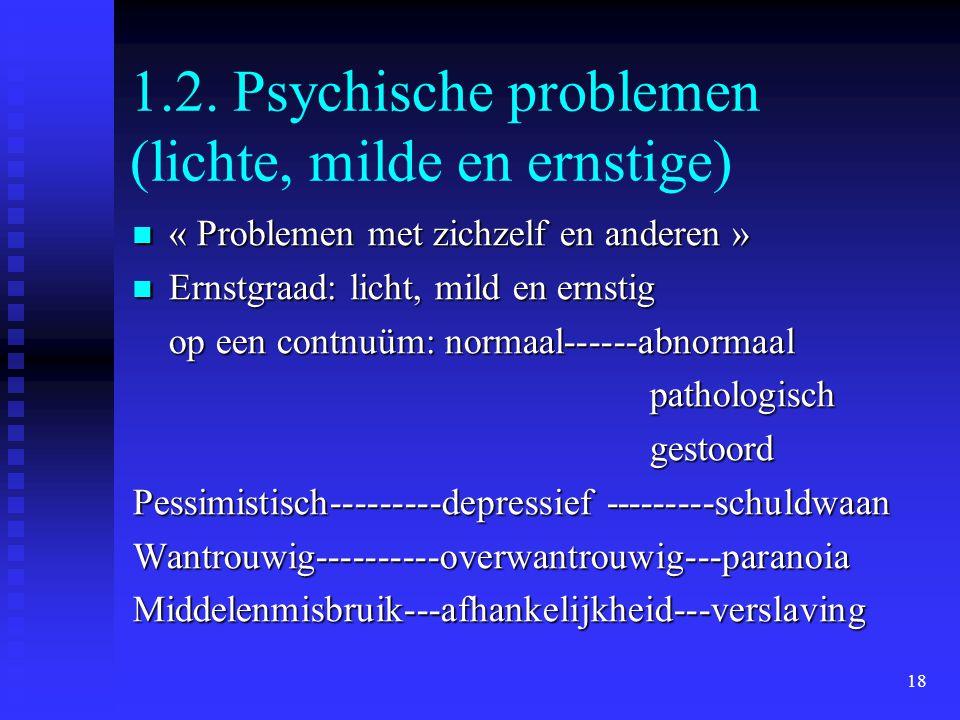 1.2. Psychische problemen (lichte, milde en ernstige)