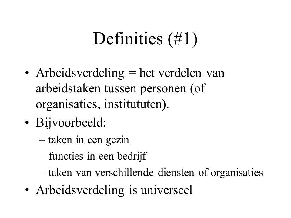 Definities (#1) Arbeidsverdeling = het verdelen van arbeidstaken tussen personen (of organisaties, institututen).