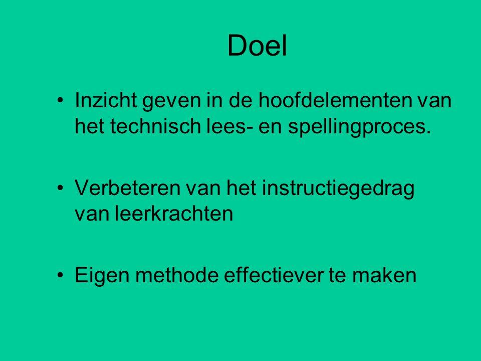 Doel Inzicht geven in de hoofdelementen van het technisch lees- en spellingproces. Verbeteren van het instructiegedrag van leerkrachten.