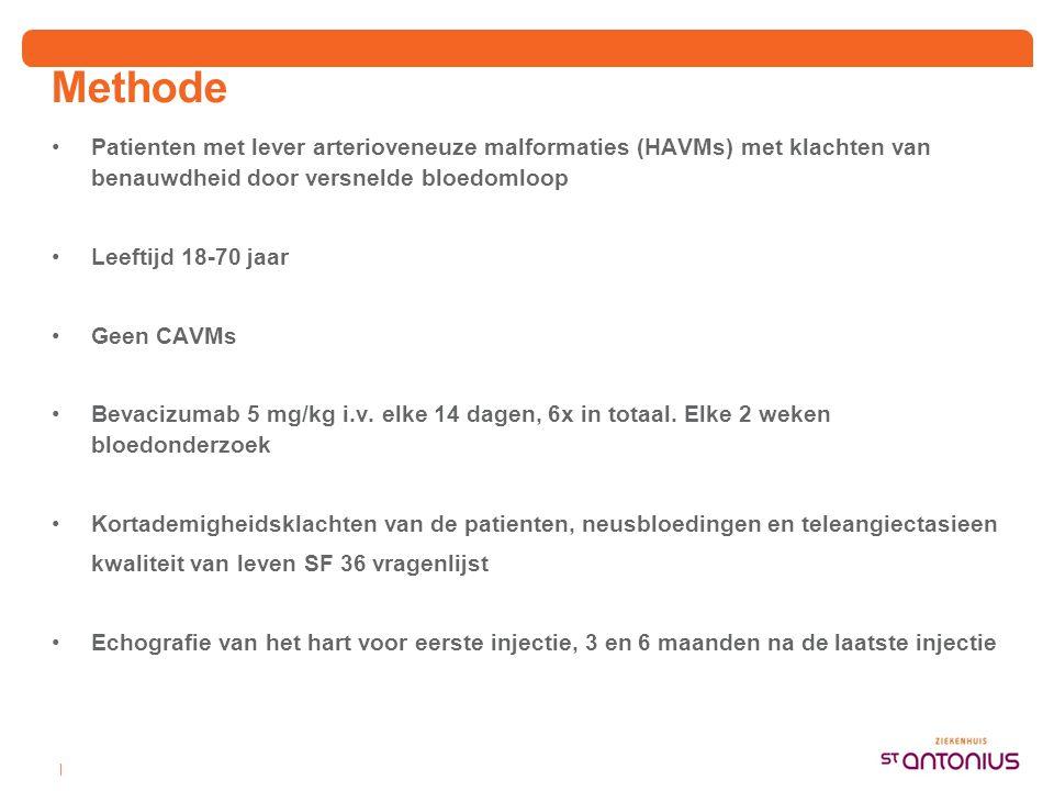 Methode Patienten met lever arterioveneuze malformaties (HAVMs) met klachten van benauwdheid door versnelde bloedomloop.