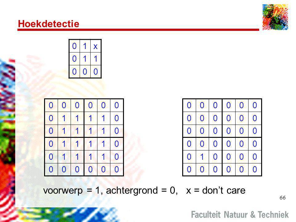 voorwerp = 1, achtergrond = 0, x = don't care