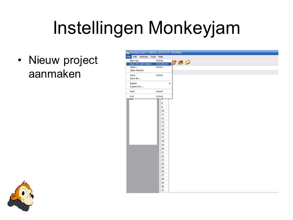 Instellingen Monkeyjam