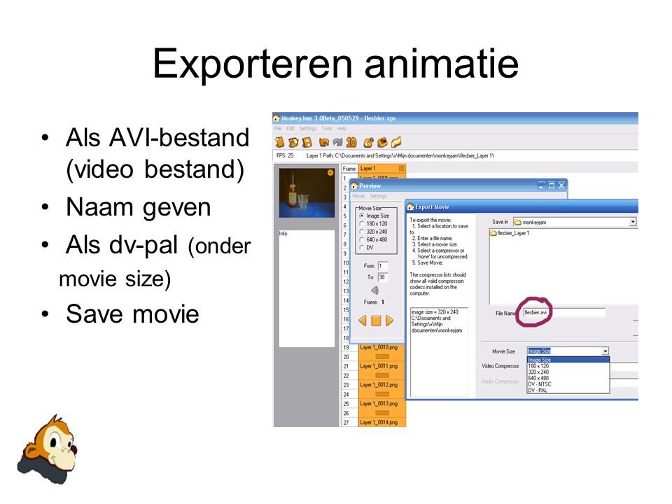 Exporteren animatie Als AVI-bestand (video bestand) Naam geven