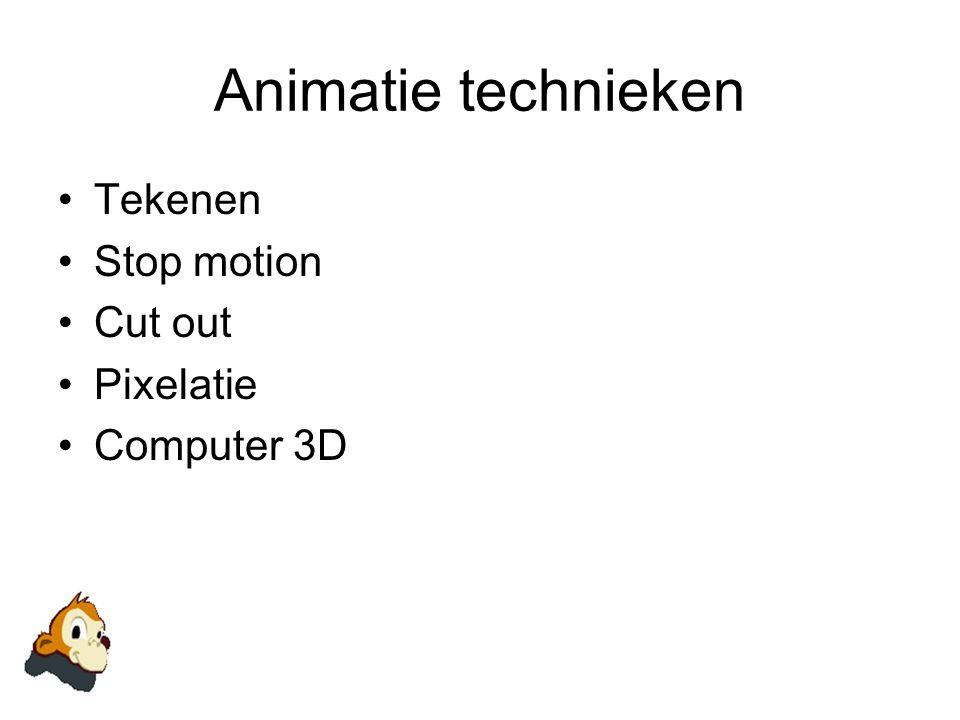 Animatie technieken Tekenen Stop motion Cut out Pixelatie Computer 3D
