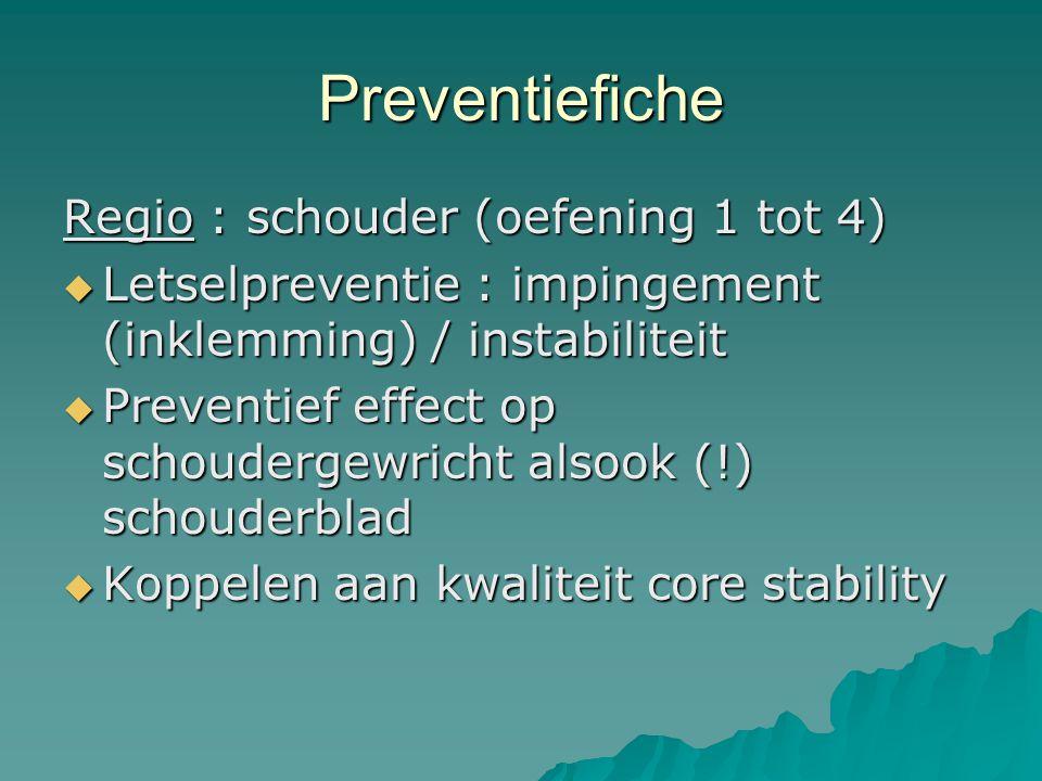 Preventiefiche Regio : schouder (oefening 1 tot 4)