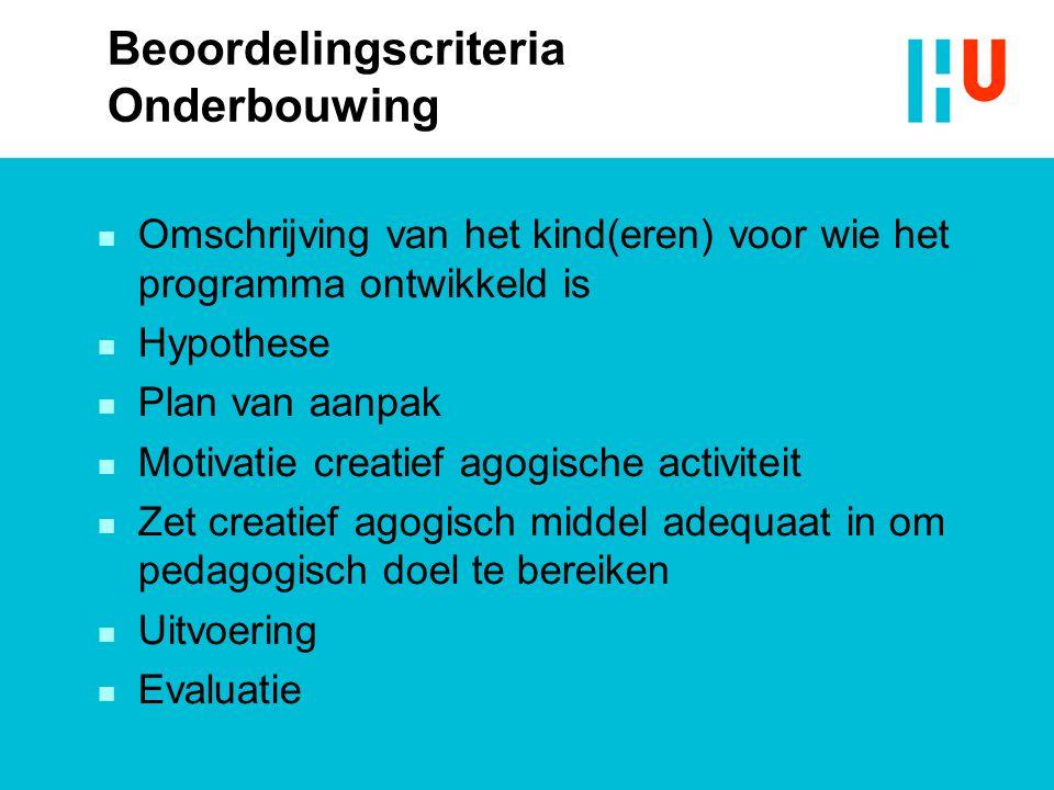 Beoordelingscriteria Onderbouwing
