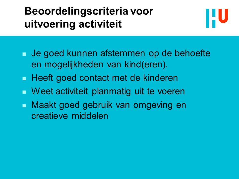 Beoordelingscriteria voor uitvoering activiteit