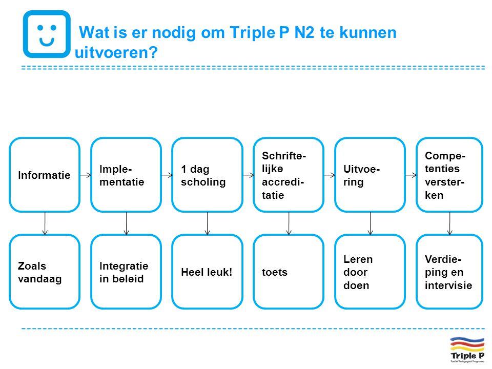 Wat is er nodig om Triple P N2 te kunnen uitvoeren