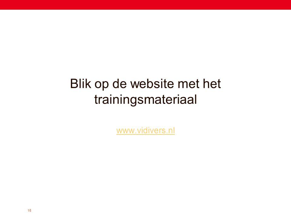 Blik op de website met het trainingsmateriaal
