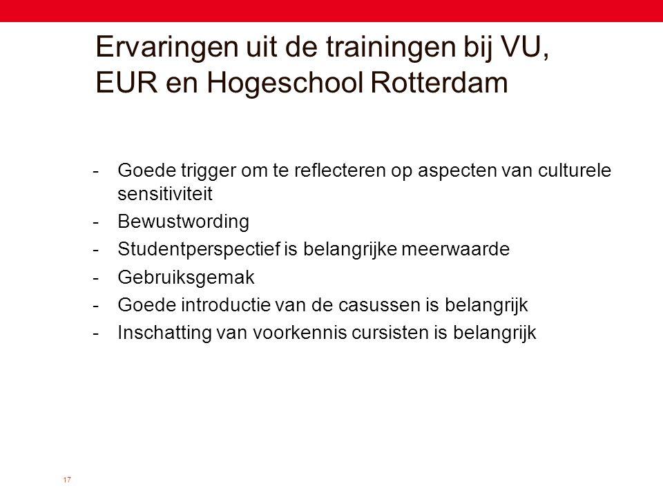 Ervaringen uit de trainingen bij VU, EUR en Hogeschool Rotterdam