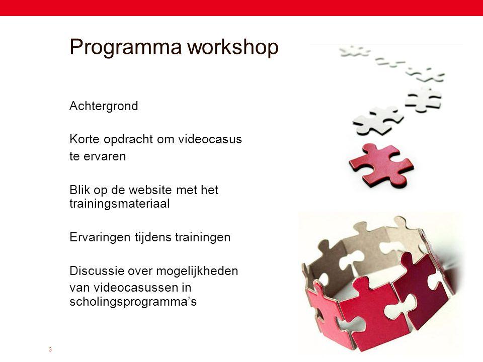 Programma workshop Achtergrond Korte opdracht om videocasus te ervaren