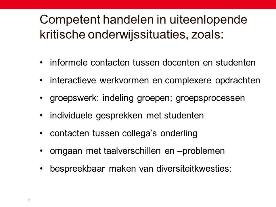 Competent handelen in uiteenlopende kritische onderwijssituaties, zoals: